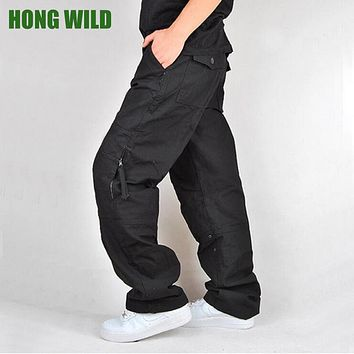 HONG WILD NEW Men's Cargo Pants Casual Large Pockets Tactical Military Pants Spring Male Cotton Fashion Army Trousers