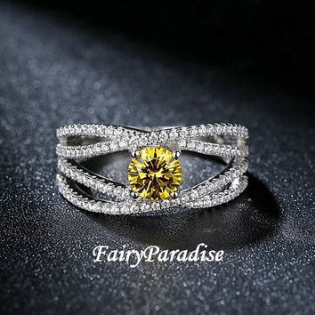 0.8 Ct twisted infinity promise ring / unique engagement ring, yellow man made diamond, 925 sterling silver, Free ring box (Fairy Paradise)