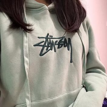"""Stussy"" Fashion Women Men Embroidery Long Sleeve Hoodie Velvet Sweater Top Sweatshirt Green"