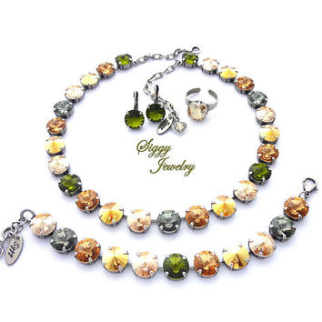 Swarovski Crystal Necklace, Set Or Individual Pieces, 12mm Olive Green, Browns, Topaz, Metallic Sunshine, FOREST SUNRISE, Gift Packaged