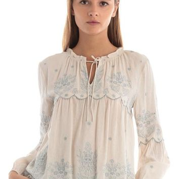 Embroidery top with tie neck detail