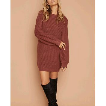 MINKPINK - One Sided Jumper Dress - mulberry