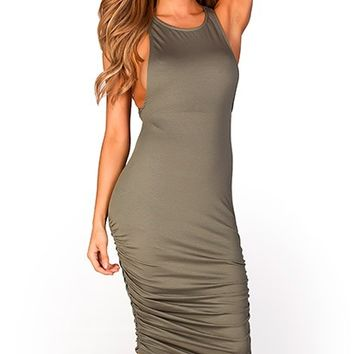 Lakisha Olive Green Open Side Bodycon Jersey Midi Dress