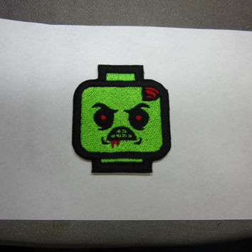 Green Block Zombie man Iron on patch
