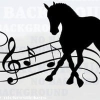 "Beautiful Musical Dressage Horse Trailer or Wall Large Black Vinyl Decal 12""x21"""