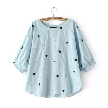 Stylish Round-neck Batwing Sleeve Cartoons Embroidery Denim Women's Fashion Tops T-shirts [4918966404]
