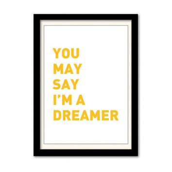 John Lennon - Imagine Song Lyric Poster. A3 Wall Art Print. Typography