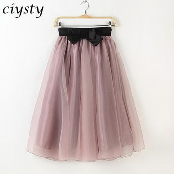 Ciysty 2017 Summer Vintage Skirts Womens Elegant High Waist Elastic Tulle Mesh Skirt Pleated Skirt Women SaiasMidi Faldas Jupe