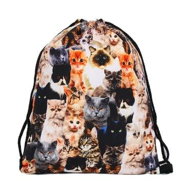 Cat Collage Drawstring Bags Cinch String Backpack Funny Funky Cute Novelty