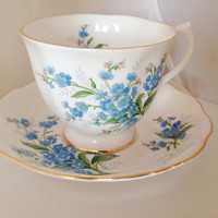 Royal Albert Forget Me Not Cup & Saucer Set - Vintage English Fine Bone China  - Blue green pale friendship flower - pale bay nots forget-me