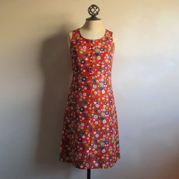 60s Scooter Floral Dress Vintage Orange Shantung Flower Power Gogo MOD 1960s Jane and Jane Mini Dress Small 5