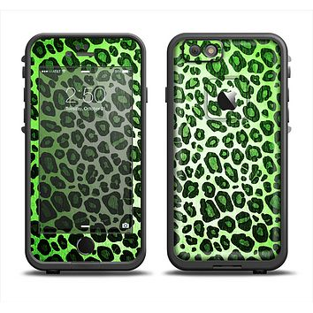 The Vibrant Green Leopard Print Apple iPhone 6 LifeProof Fre Case Skin Set