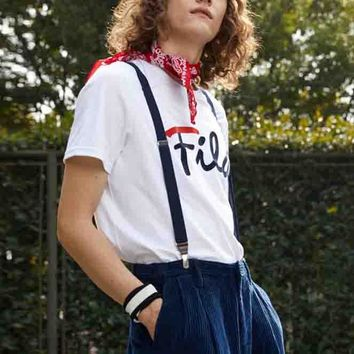 FILA Fashion Women Men More Style Tee Shirt Top B-YF-MLBKS White
