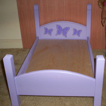 Handcrafted American Girl doll size bed purple bed with purple butterfly design