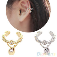 New Punk Fashion Ear Cuff Rhinestone Cartilage Clip On Earring Non Piercing  1L2Q