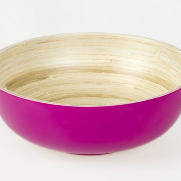 Coiled bamboo footed serving bowls, fuchsia