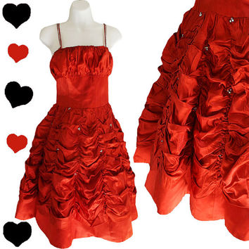 Dress Vintage 50s Red Orange Satin Party Prom Dress XXS XS Rockabilly Pinup Full Skirt