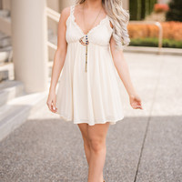 Might Just Strappy Back Crochet Detail Textured Babydoll Dress (Beige)