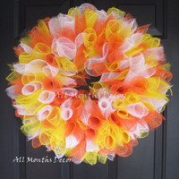 Candy Corn Deco Mesh Wreath