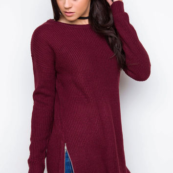 Thinking Out Loud Sweater - Burgundy