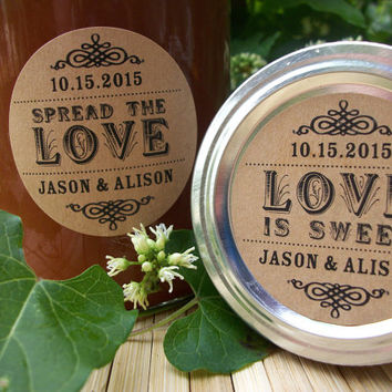 Spread the love and love is sweet kraft paper canning jar labels