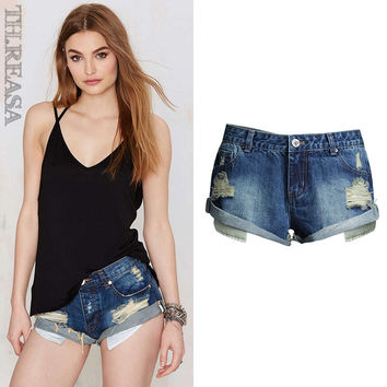 Ripped Holes Denim Low Waist Pants Shorts [11474125007]