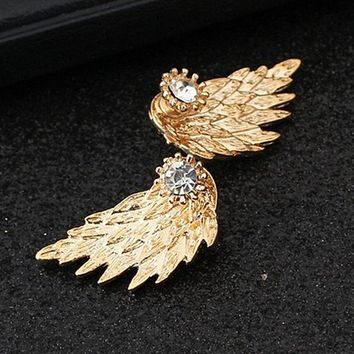 ES101 Women's Angel Wings Stud Earrings Inlaid Crystal Alloy Ear Jewelry Party Earring Gothic Feather Brincos Fashion