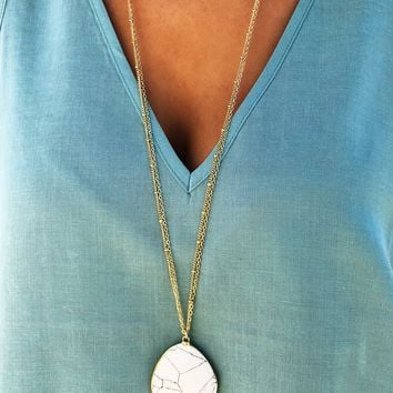 Something To Treasure Necklace: Gold/Marble