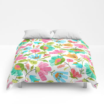 Cut Flowers Comforters by heatherduttonhangtightstudio