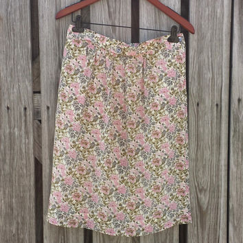 Vtg Floral Silk Skirt - Alcott & Andrews - DEAD STOCK - Romantic - Size M
