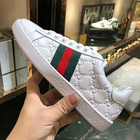 Gucci Trending Women Men Stylish Red Green Stripe Old Skool Sneakers Sport Shoes White I-ALS-XZ