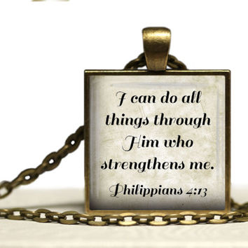 Philippians 4:13 Glass Tile Pendant Necklace Christian Jewelry