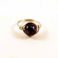 Purple and Black Color Changing Ring Size 7 Wire Wrapped Ring