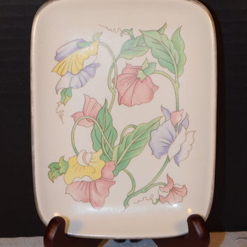 Ben Rickert Porcelain Floral Vanity Tray Made in Japan Vintage Floral Tray Soap Dish Dresser Tray Plate Shabby Chic Cottage Chic Tray
