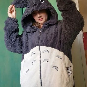 Grey Cartoon Totoro Ear Hooded Long Sleeve Fuzzy Cute Sweatshirt