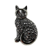 Precious Pet Cat Pin Vintage Avon Silver Tone Faux Marcasite Brooch Estate V381