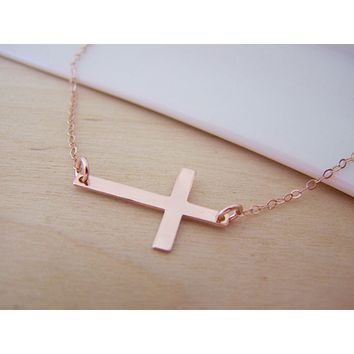 Dainty Sideways Cross 14k Rose Gold Fillled Necklace Simple Jewelry Everyday Necklace / Gift for Her