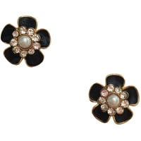 Crystal & Pearl Black Flower Earrings