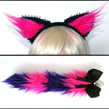 Pink Purple Cheshire Cat Ears and Tail Set, Kitty Ears, Furry Tail, Rave Wear, Cat Halloween Costume, Alice in Wonderland