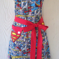 Superman Comic Book Inspired Full Apron for Women / Man of Steel / DC Comics
