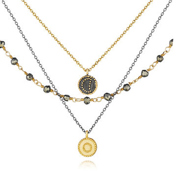 Gunmetal And Gold Pyrite Celestial Triple Strand Necklace - Great Heights