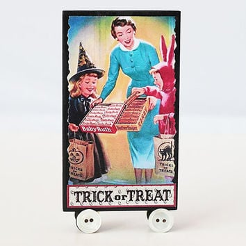 Handmade Halloween tiny Tableau has a different design on each side, skeleton grave gravestone trick or treat shabby chic mixed media wheels