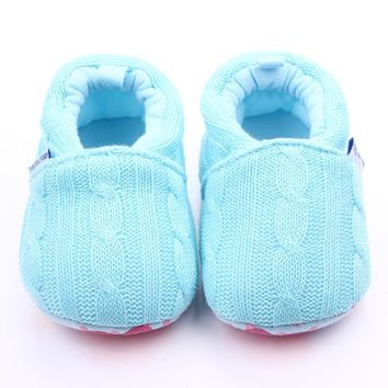 New Design 5 Colors Cotton Shoes Wool Crochet Cotton Soft Sole Infant Baby Boy Girl Shoes For Indoor 0-12 Months