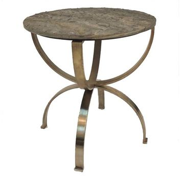 Bengal Manor Curved Aged Brass Round Accent Table With Textured Marble Top By Crestview Collection Cvfnr347