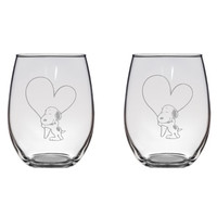 Snoopy Hugging Heart Engraved Glasses Peanuts Charlie Brown Gift