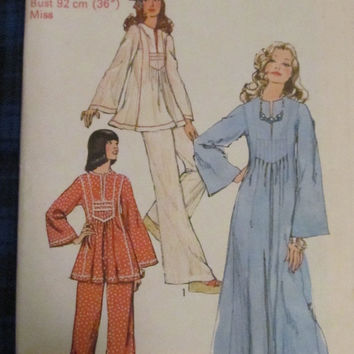 SALE Uncut 1970's Simplicity Sewing Pattern, 6044! Size 14, Women's/Misses, Bust 36, Hippie Casual Caftan/Shirts/Pants/Flare Bottoms/Bell Bo