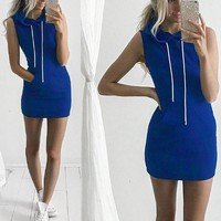 New Women Blue Plain Pockets Drawstring Hooded Sports Mini Dress