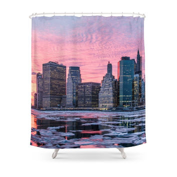 Society6 New York Skyline And Frozen Hudson River Shower Curtains
