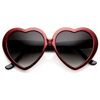 Party Sparkle Glitter Novelty Womens Heart Shape Sunglasses 8983