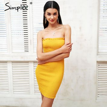 Simplee Sexy strapless stretchy short dress women Chic ruffle skinny bodycon dress Party summer dress 2018 new vestido de festa